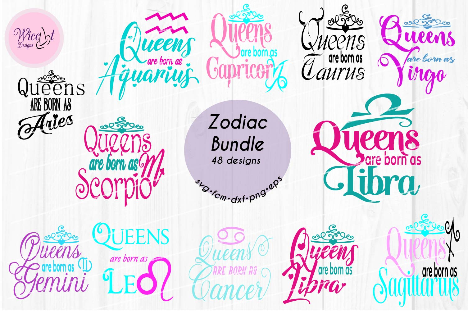 Queens are born as ... Zodiac bundle svg, all zodiac signs, example image 4