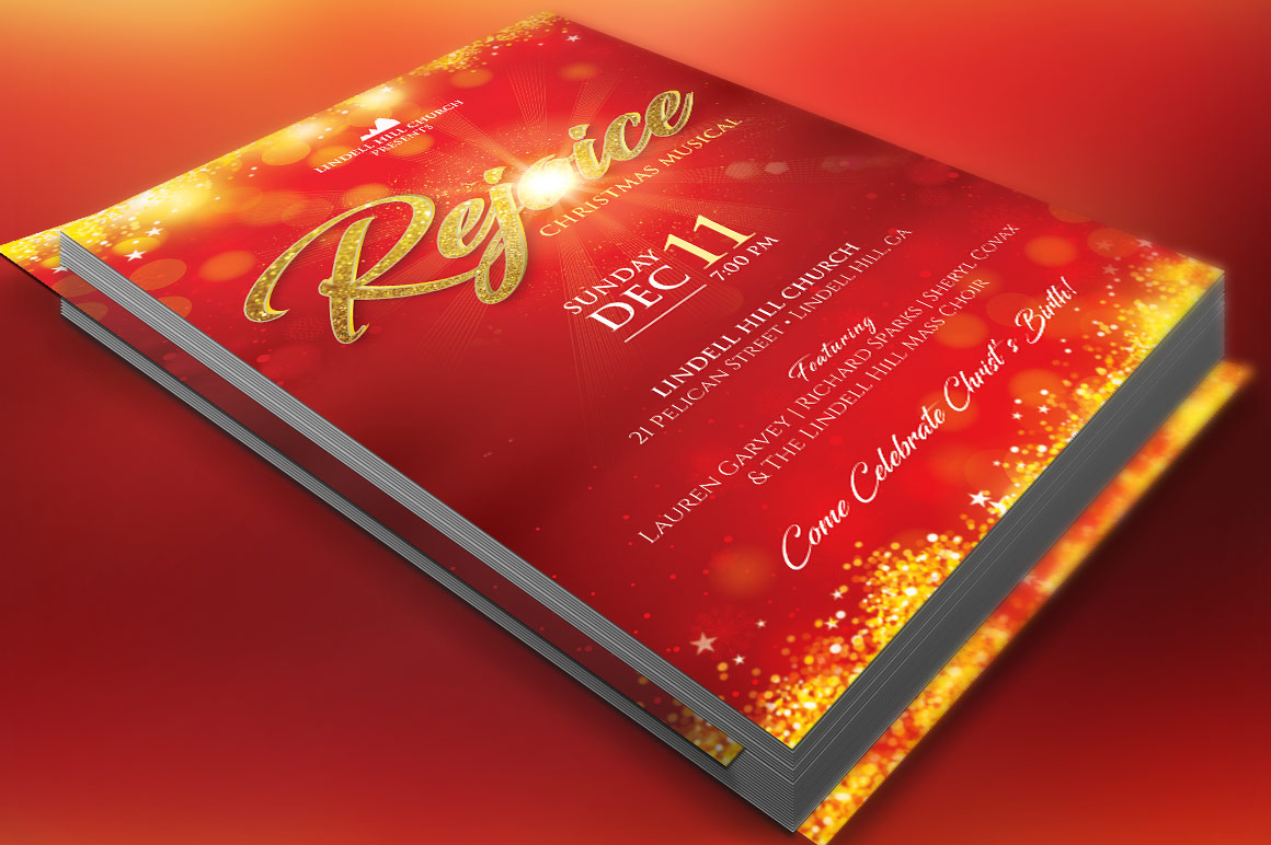 Rejoice Christmas Flyer Poster Template example image 1