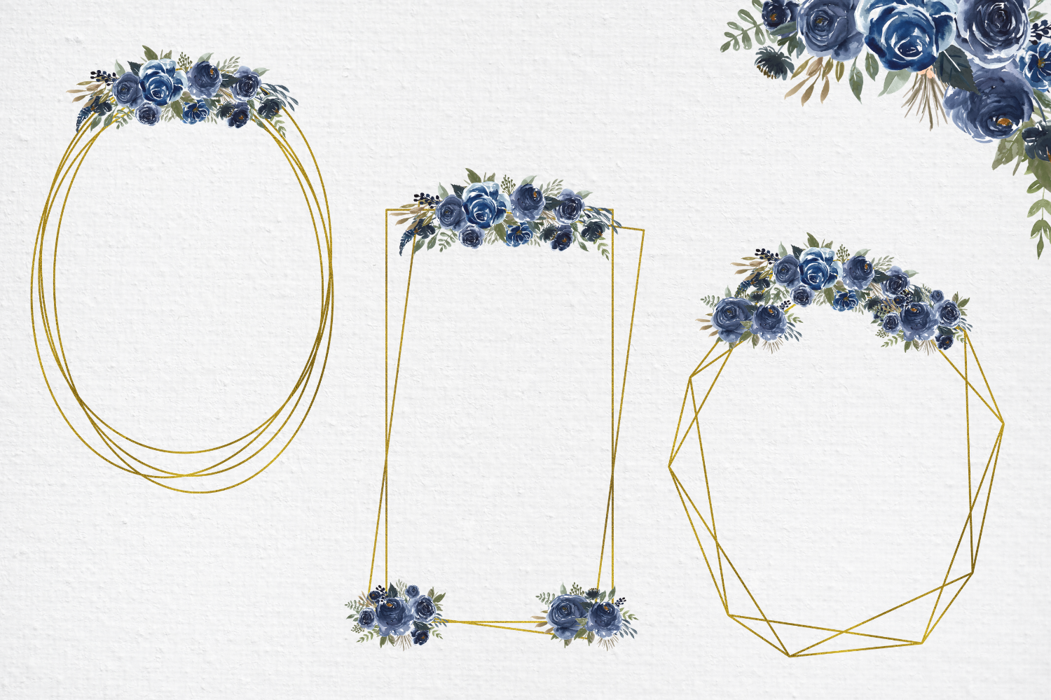 Navy Blue Watercolor Flowers Frames, Geometric Gold Frames, example image 7