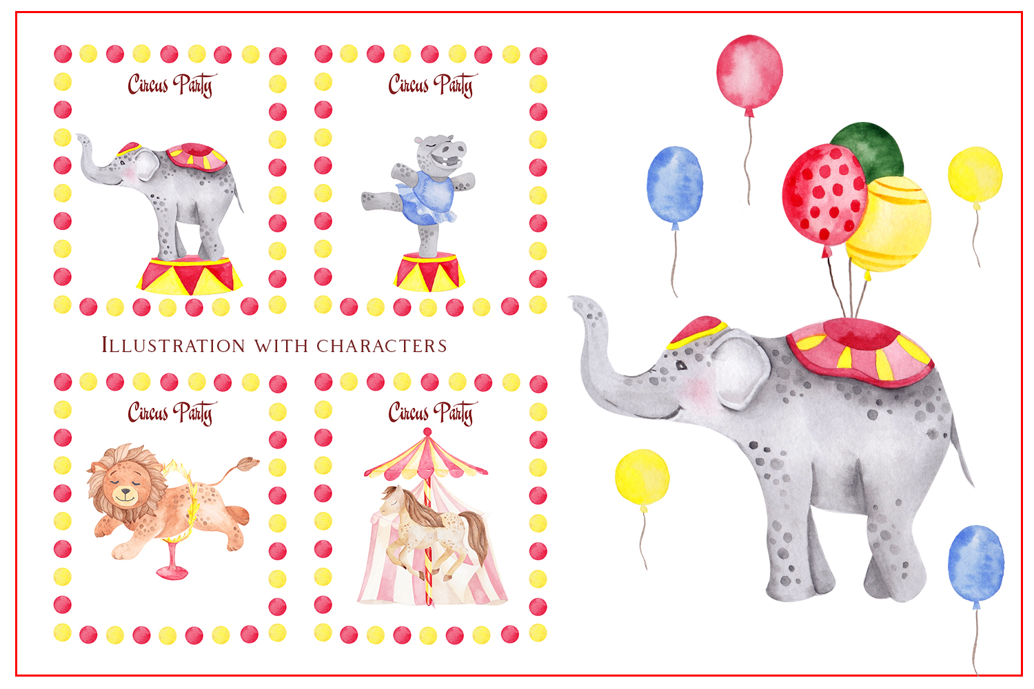 Circus. Watercolor clipart example image 8