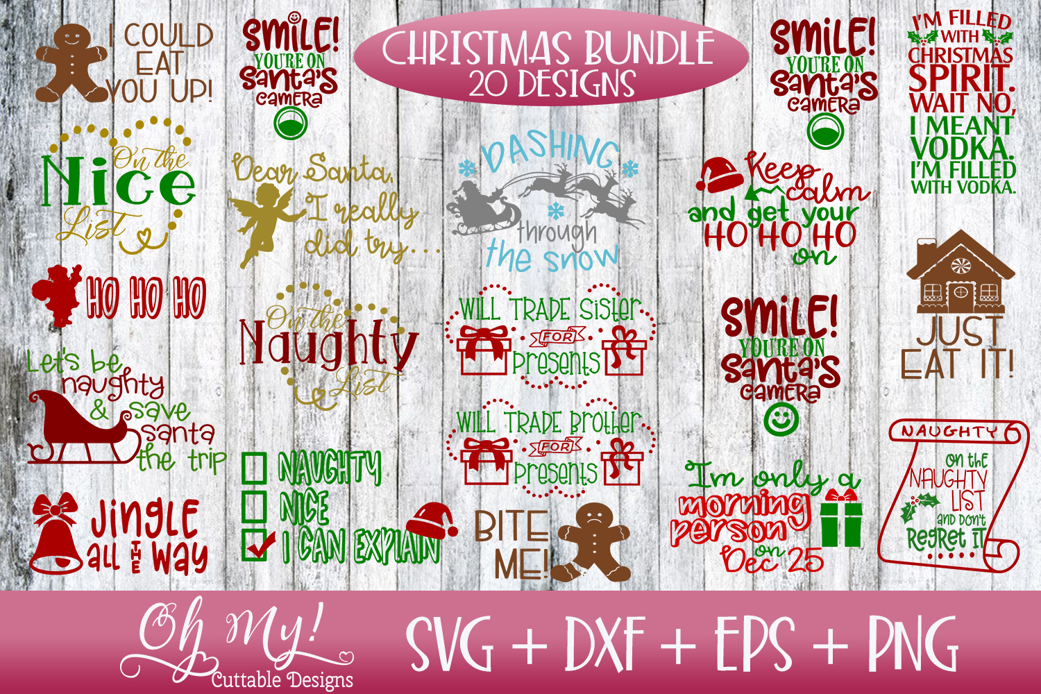 Christmas Bundle 20 Designs SVG EPS DXF Cutting Files example image 2