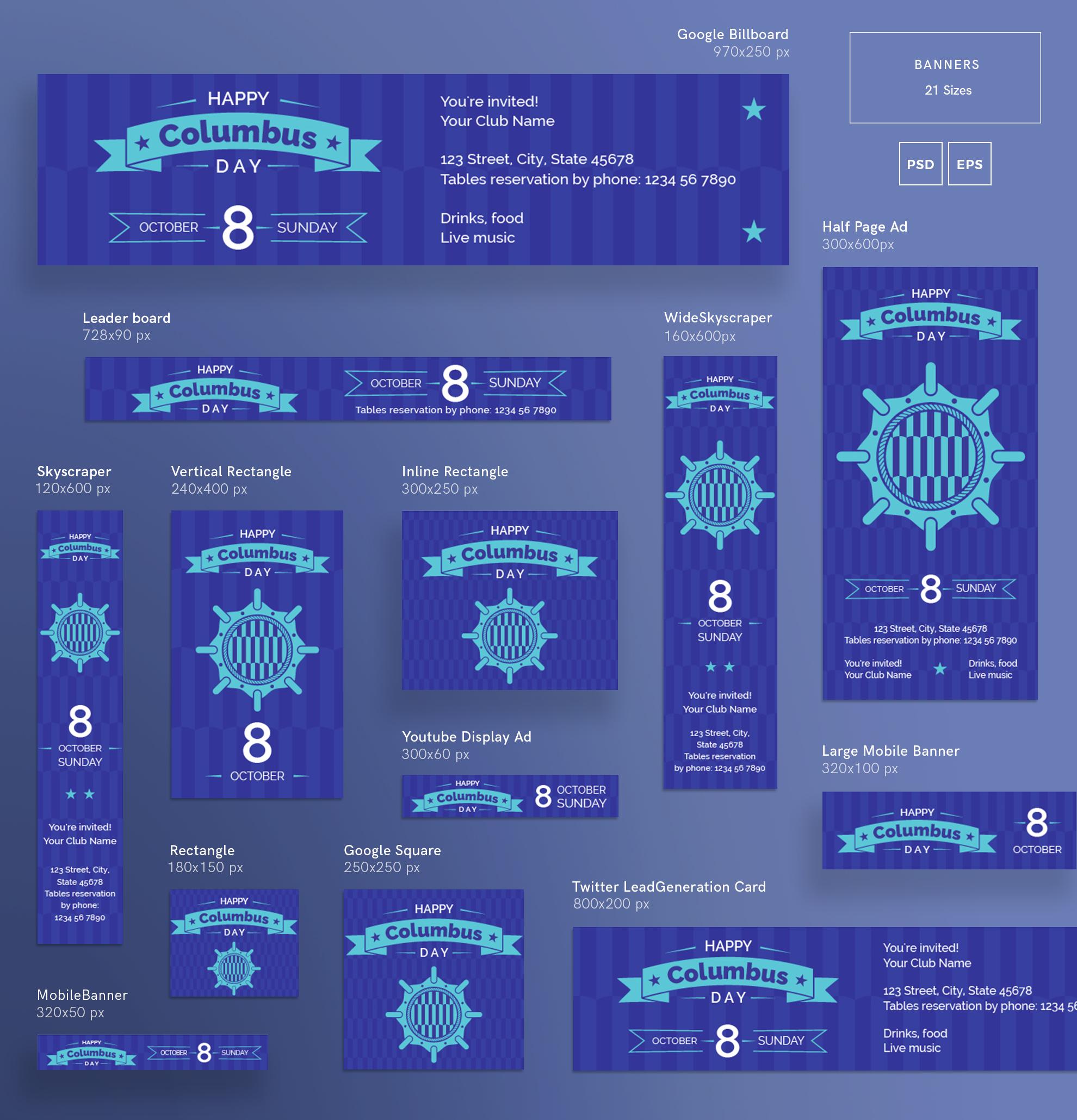 Columbus Day Party Design Templates Bundle example image 5