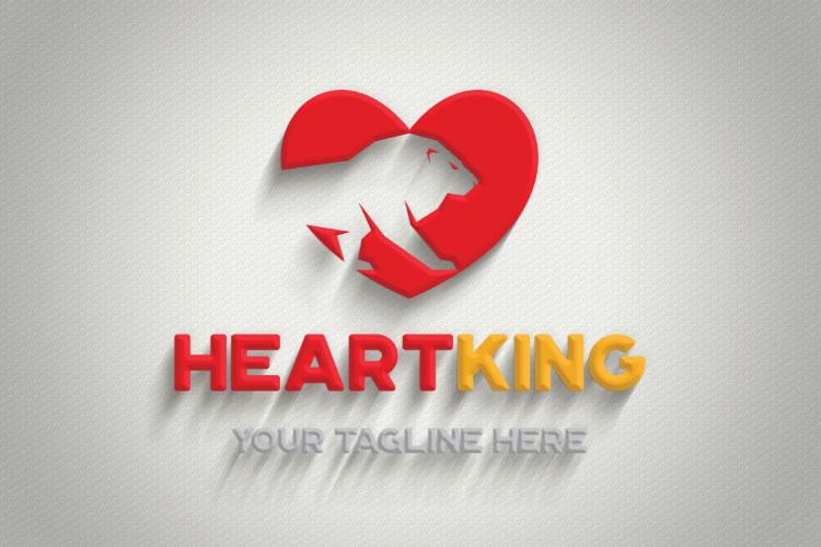Lion Heart Shape Logo example image 3