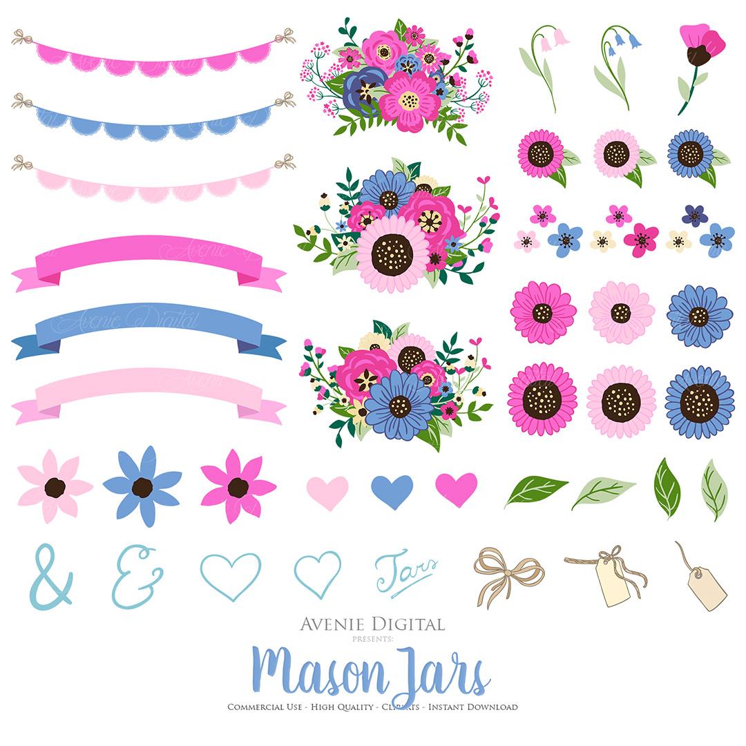 Pink and Navy Mason Jar Wedding Clipart example image 2