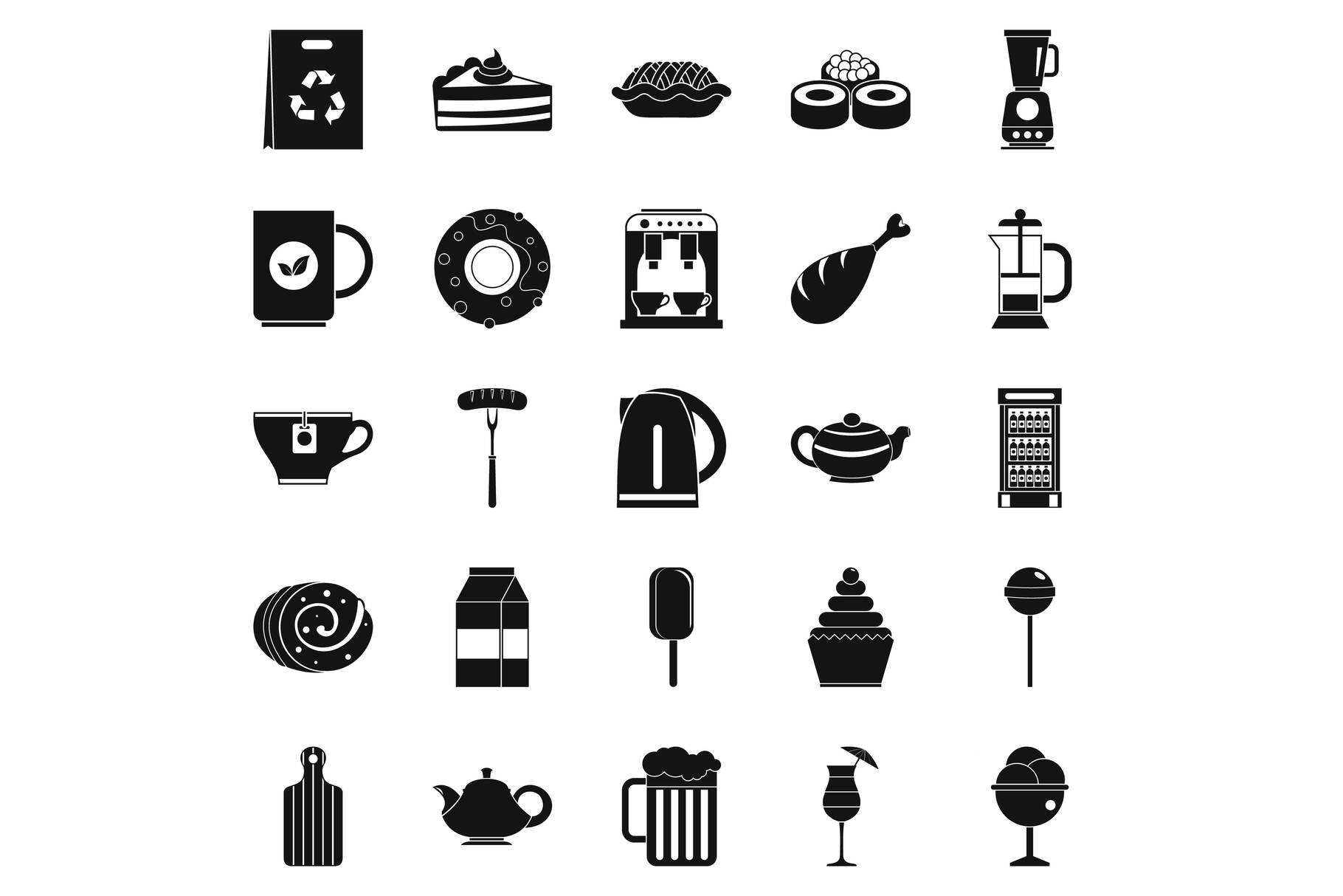 Canteen icons set, simple style example image 1