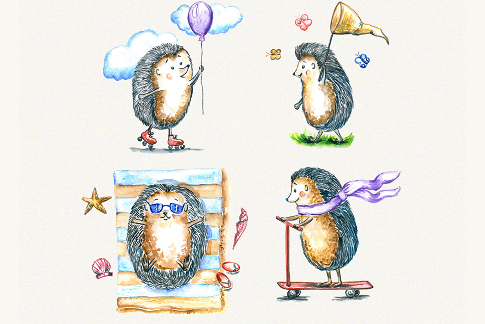 Hedgehog clipart, watercolor clipart example image 5