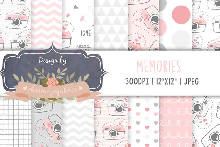 Pink and gray digital camera paper, Geometric pink and gray example image 1