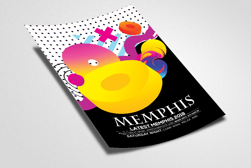 Abstract Memphis Flyer Template example image 2