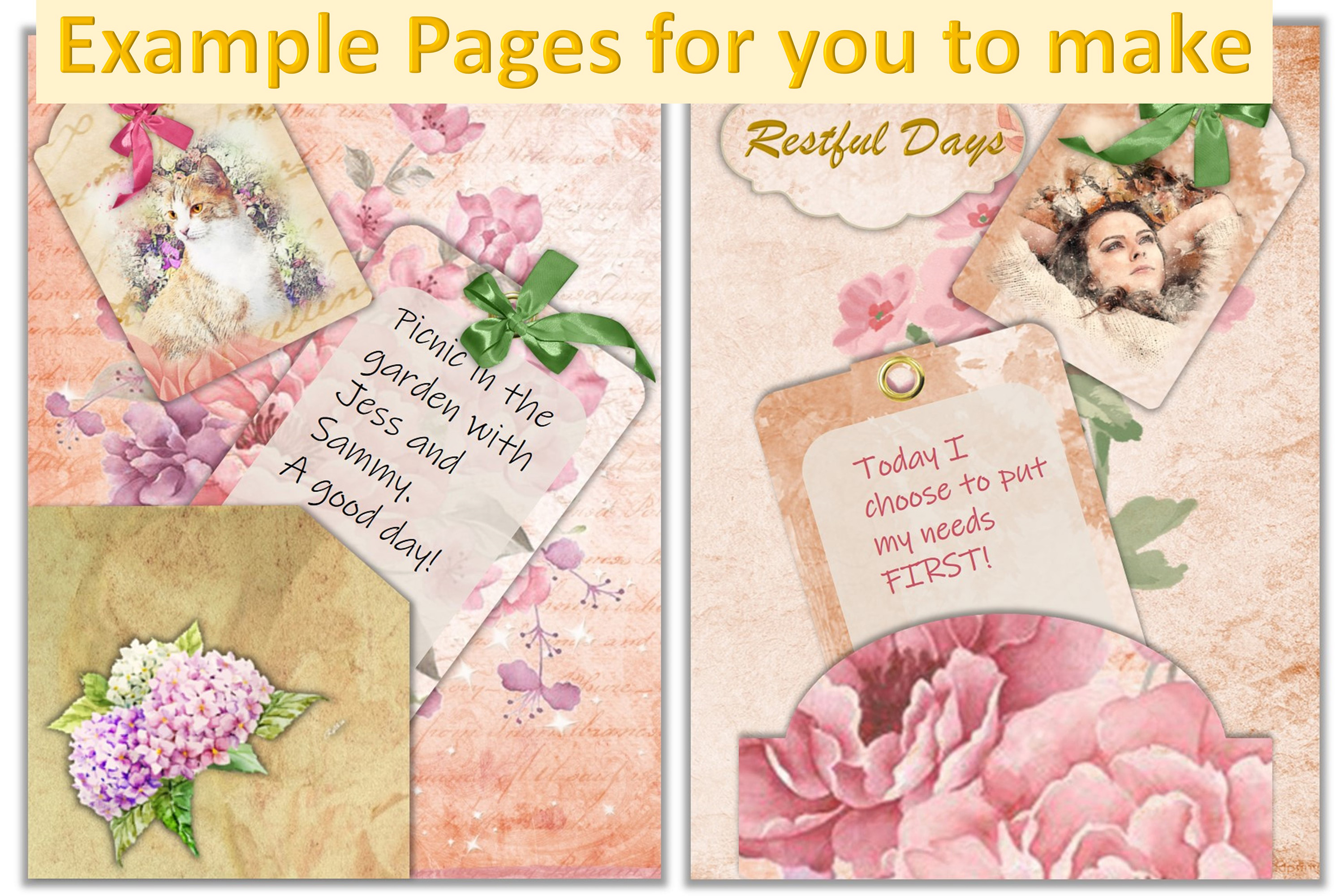 Journaling or scrapbooking kit 75 Piece Bundle PNG and JPEG example image 2