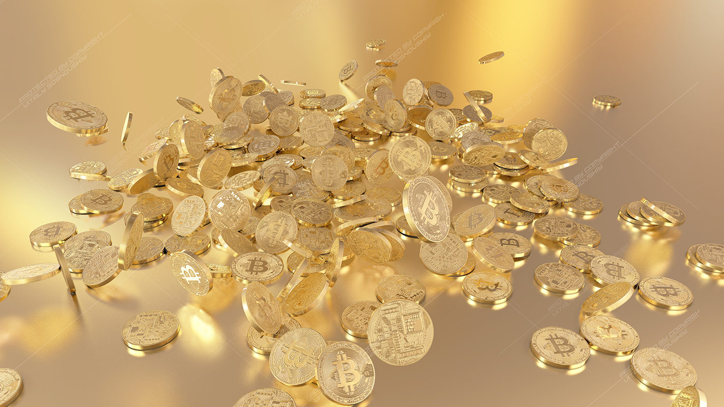 6  files - 3D rendering Bitcoins falling on a pile example image 2