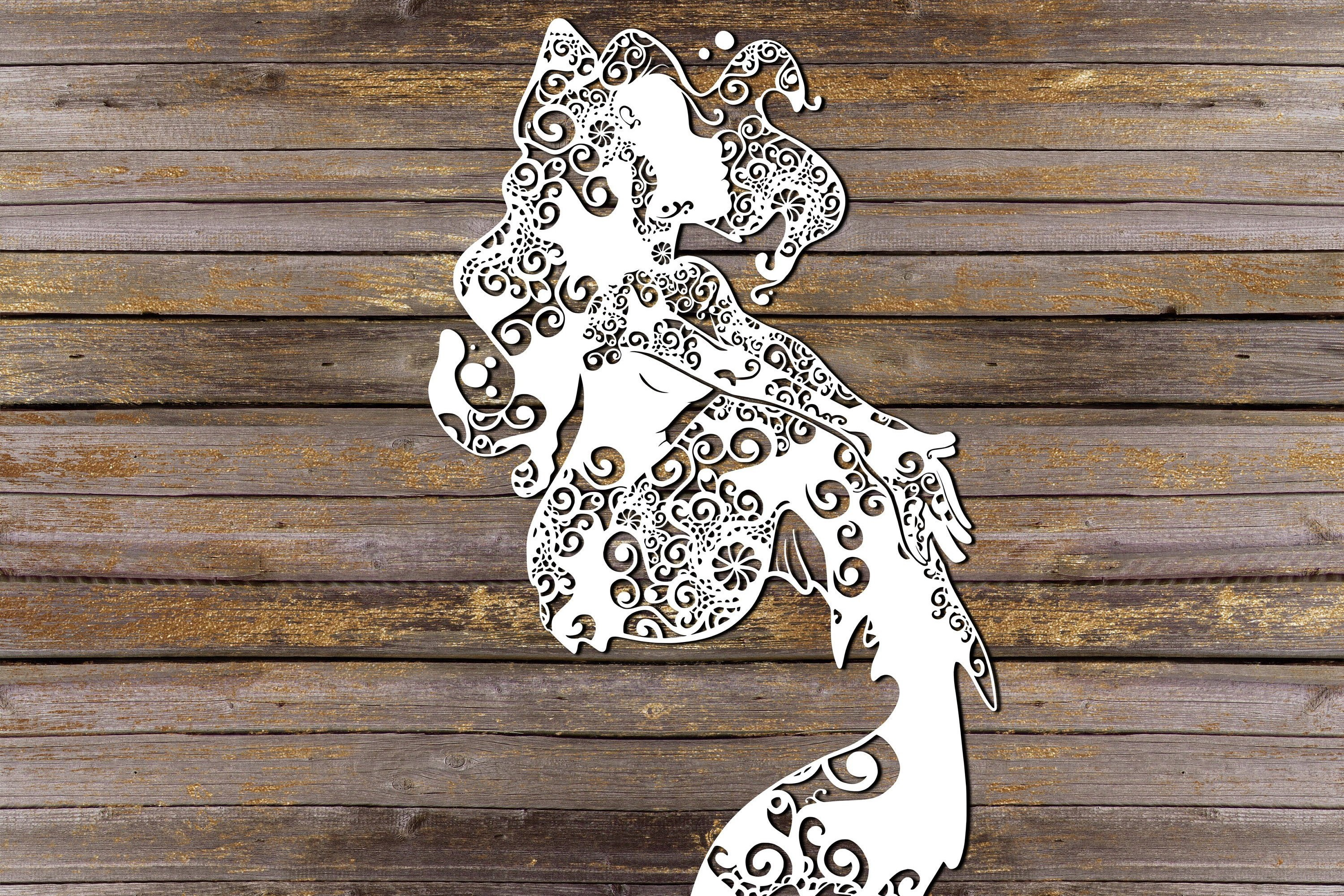 Mandala Mermaid Svg, Mermaid Svg, Mandala Svg, Zentangle Svg example image 1