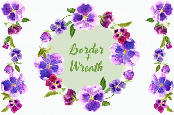 Watercolor Pansies Cip Art Set - Bonus Wreath and Border example image 3