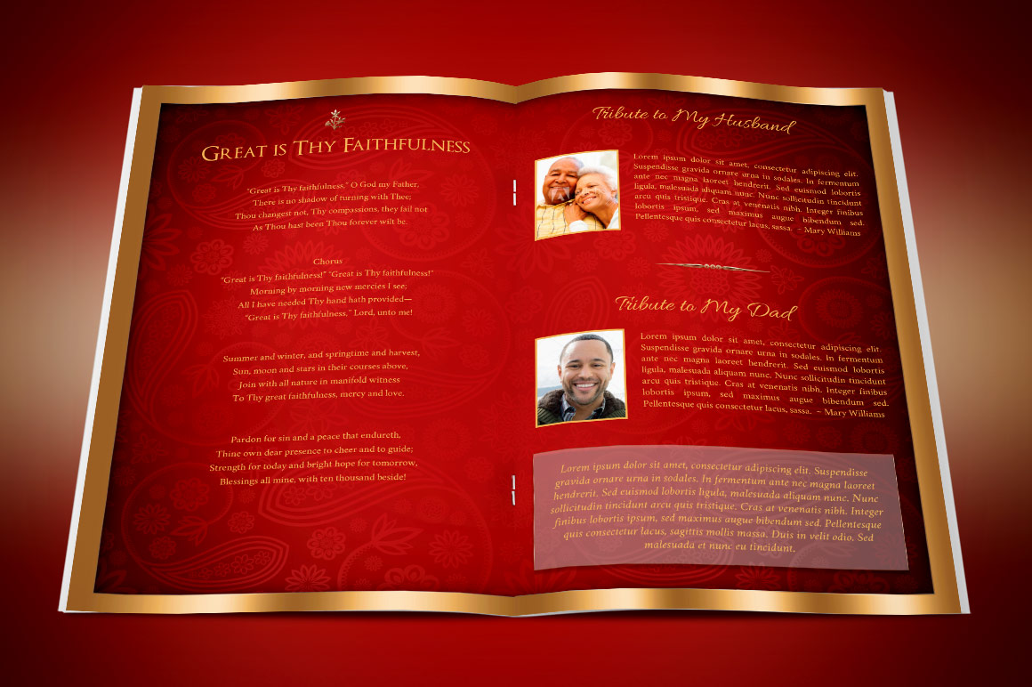 Red Gold Dignity Funeral Program Publisher Template  example image 5