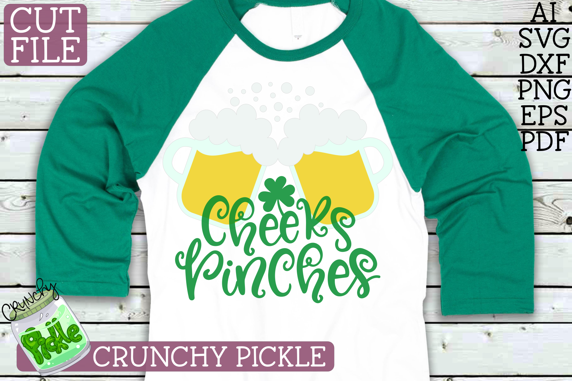 Cheers Pinches St. Patrick Clover Beer Mugs SVG Cut File example image 2
