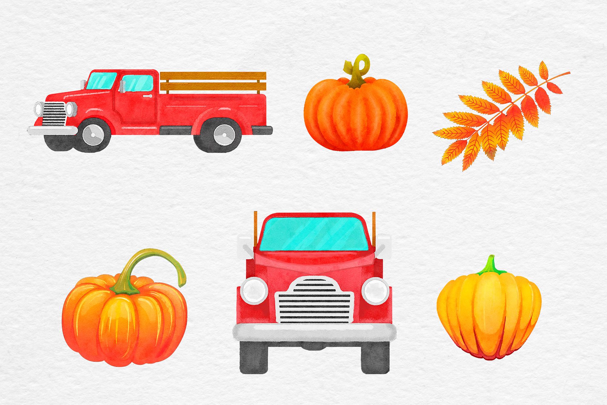 Watercolor Pumpkin Truck example image 2