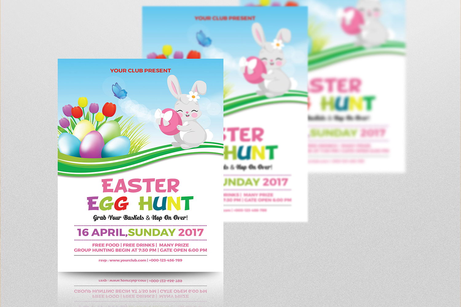 Easter Party Flyer Template | MS Word & Photoshop template example image 3