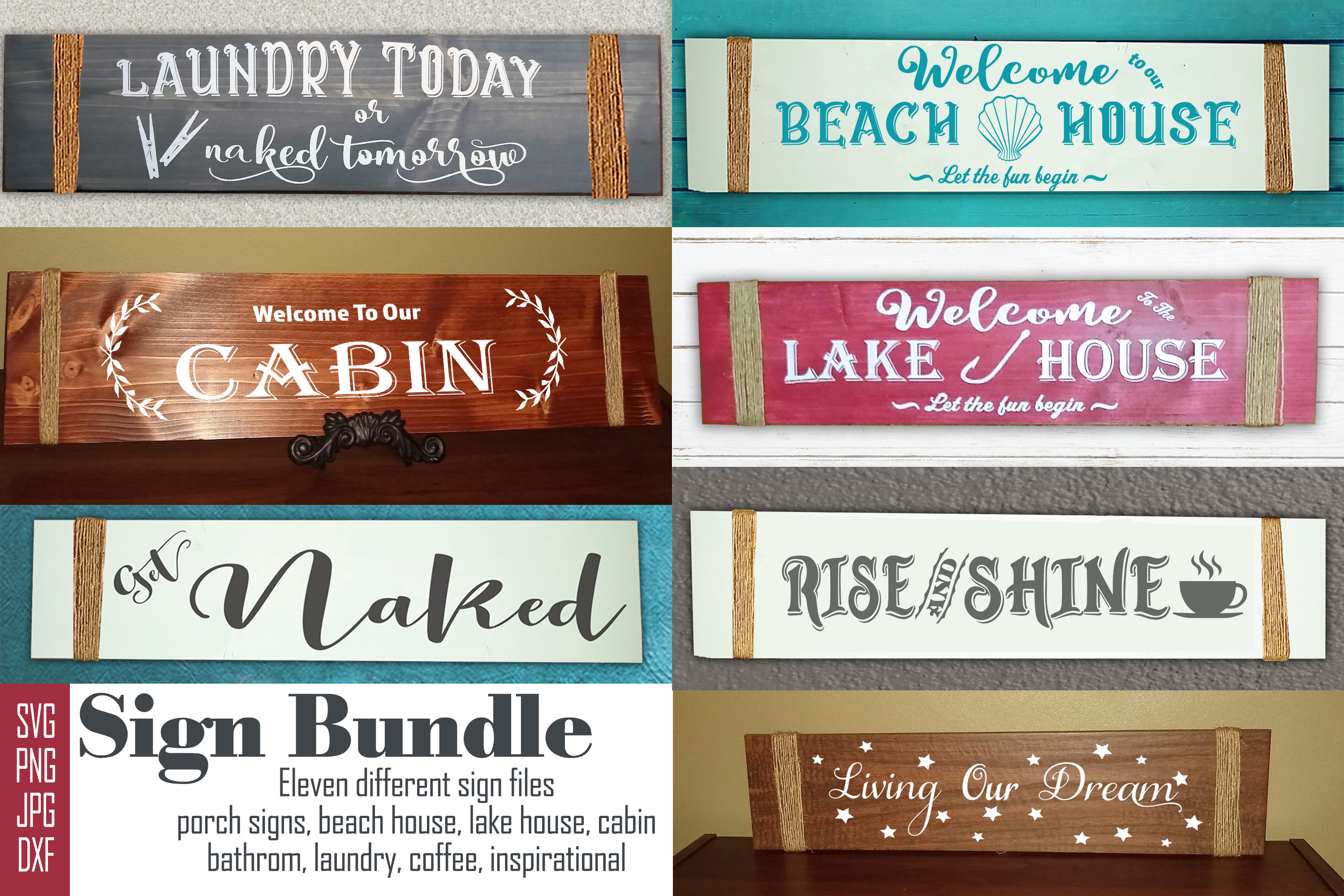 Sign Bundle-Porch, Bathroom, Coffee, Inspiration, Laundry example image 1