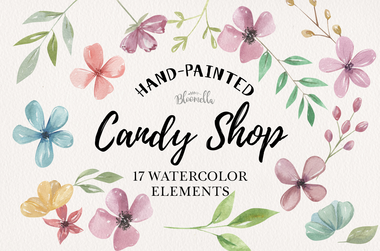 Candy Shop Watercolor Flowers 17 Elements Florals Leaves example image 1