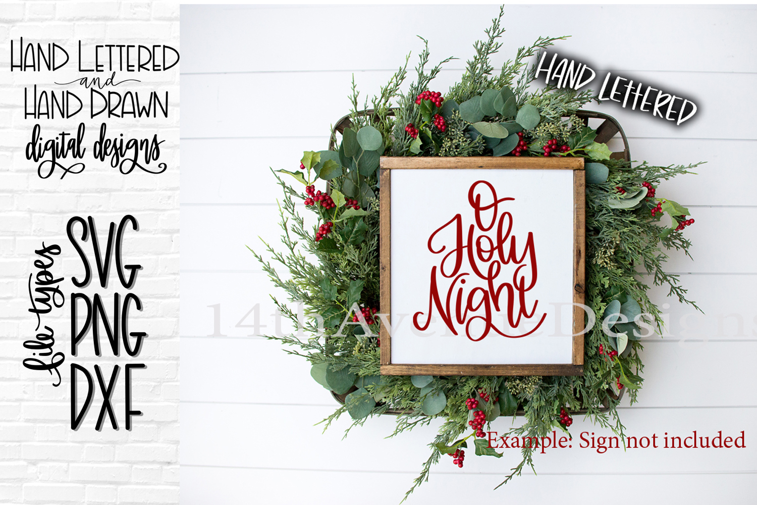 O Holy Night SVG, Christmas SVG, Hand Lettered SVG, DXF, PNG example image 1