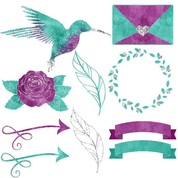 Hummingbird watercolor clipart example image 3