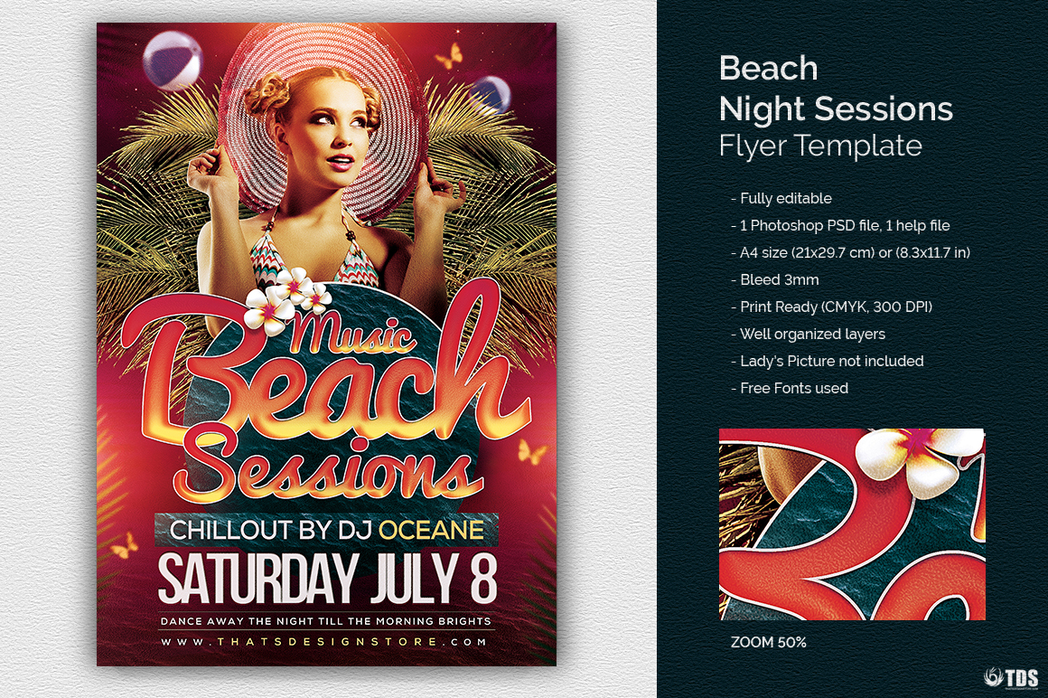 Beach Night Sessions Flyer Template example image 1