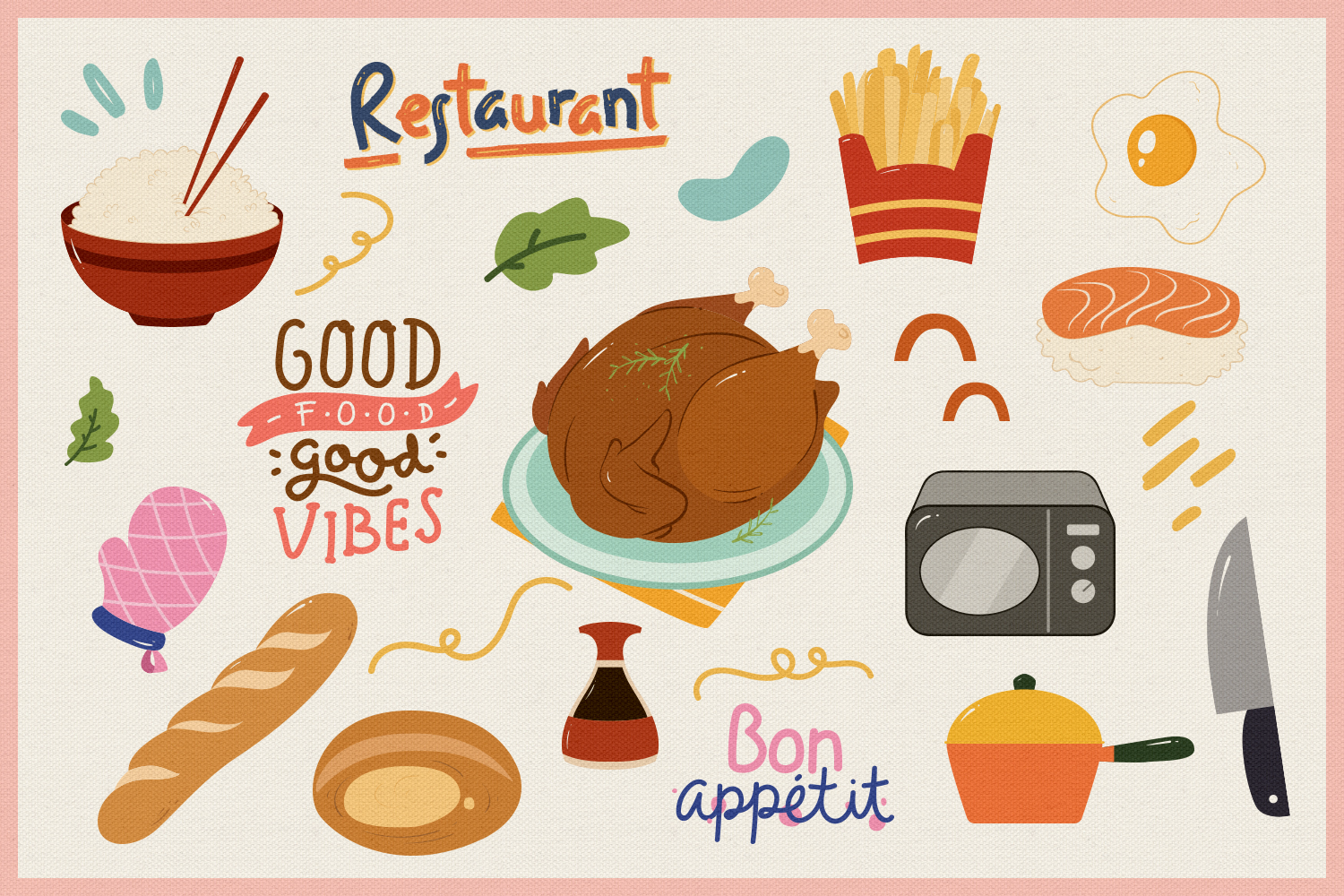 Food Vector Clipart & Seamless Patterns example image 2