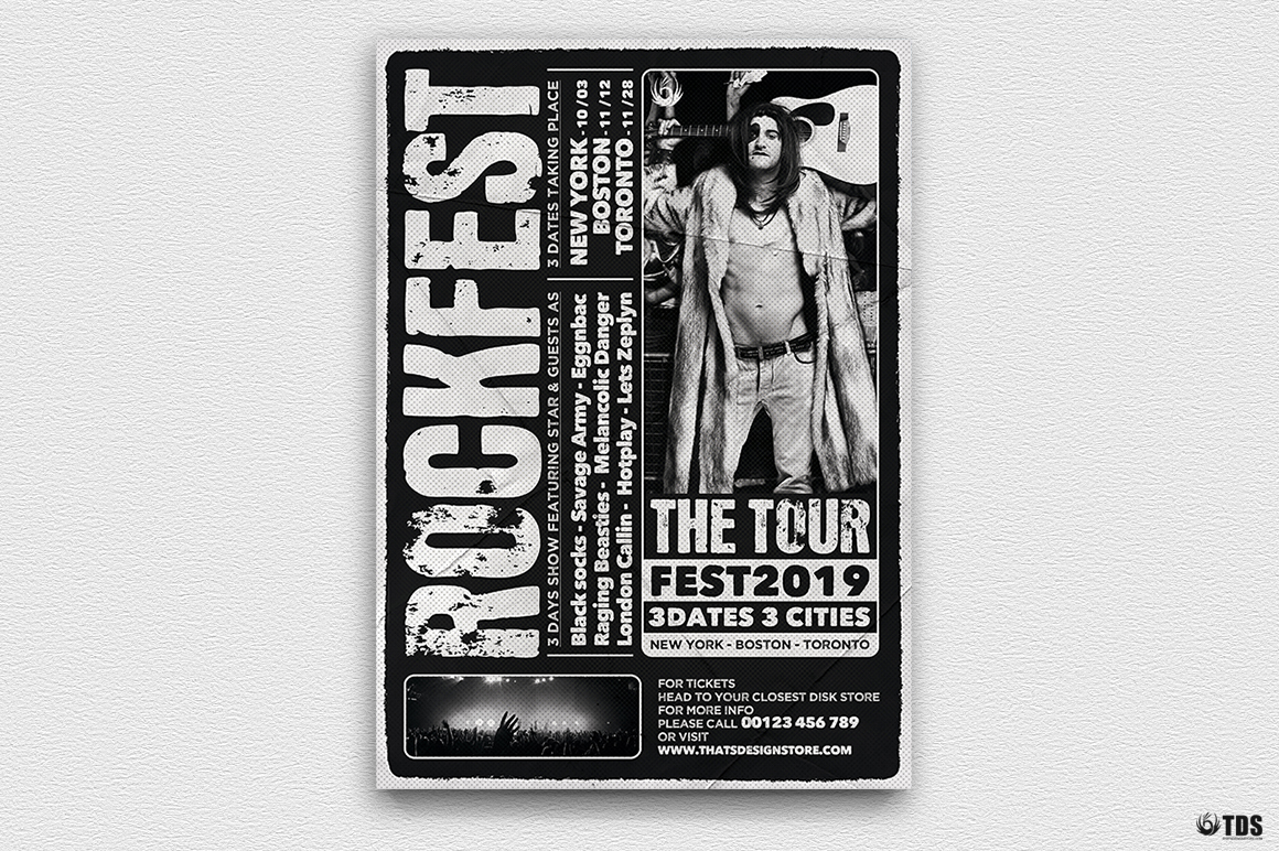 Distressed Rockfest Flyer Template example image 3