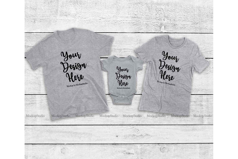 Matching Family Gray T-Shirts Mockup, Baby Bodysuit Set example image 1