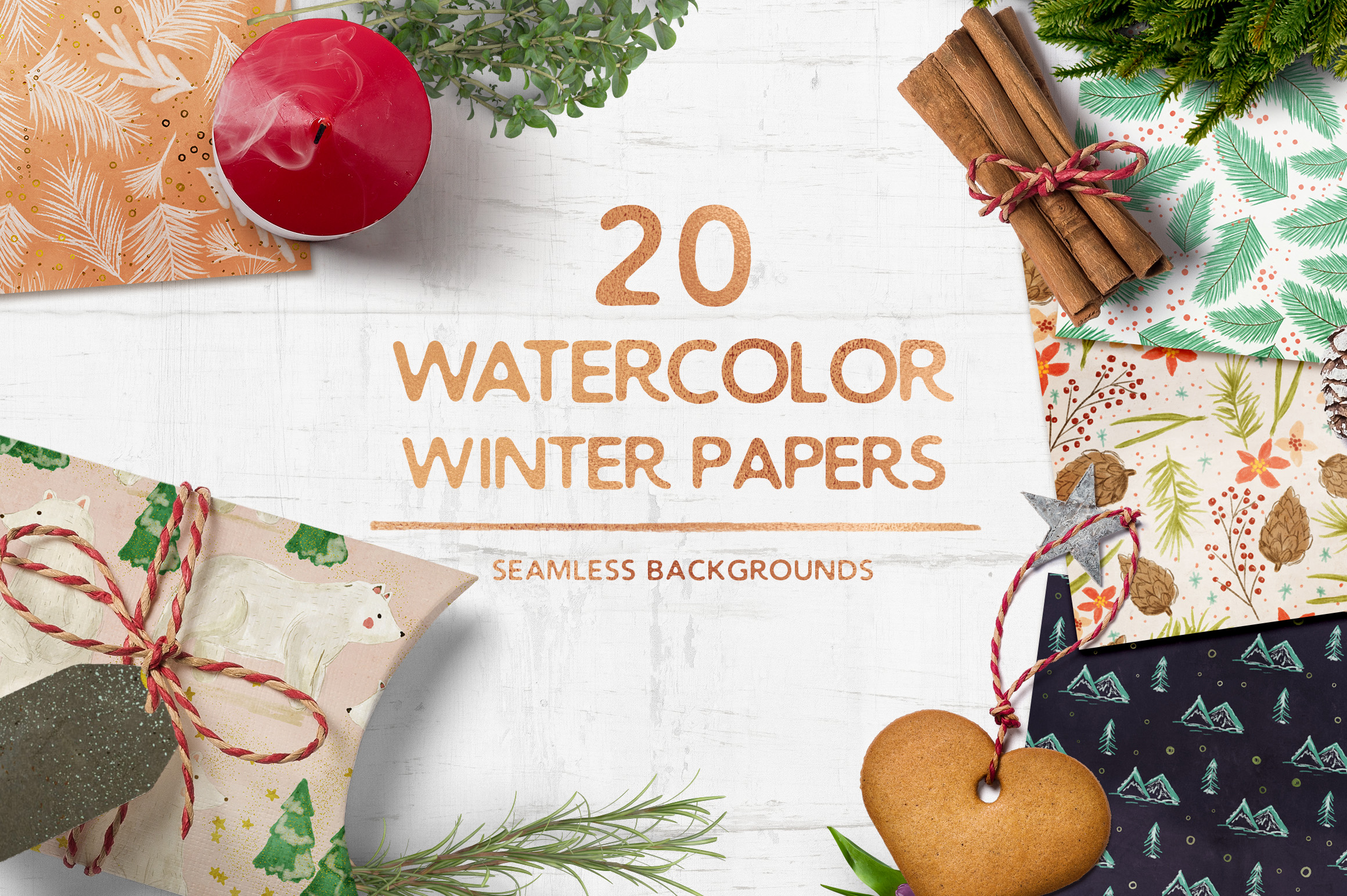 Watercolor Winter Seamless Patterns example image 1
