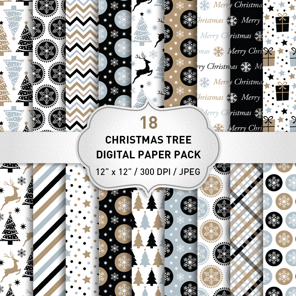 Christmas Digital Paper Pack / Black and Gold Christmas Backgrounds / Scrapbooking / Patterns / Printables / Card Making example image 1