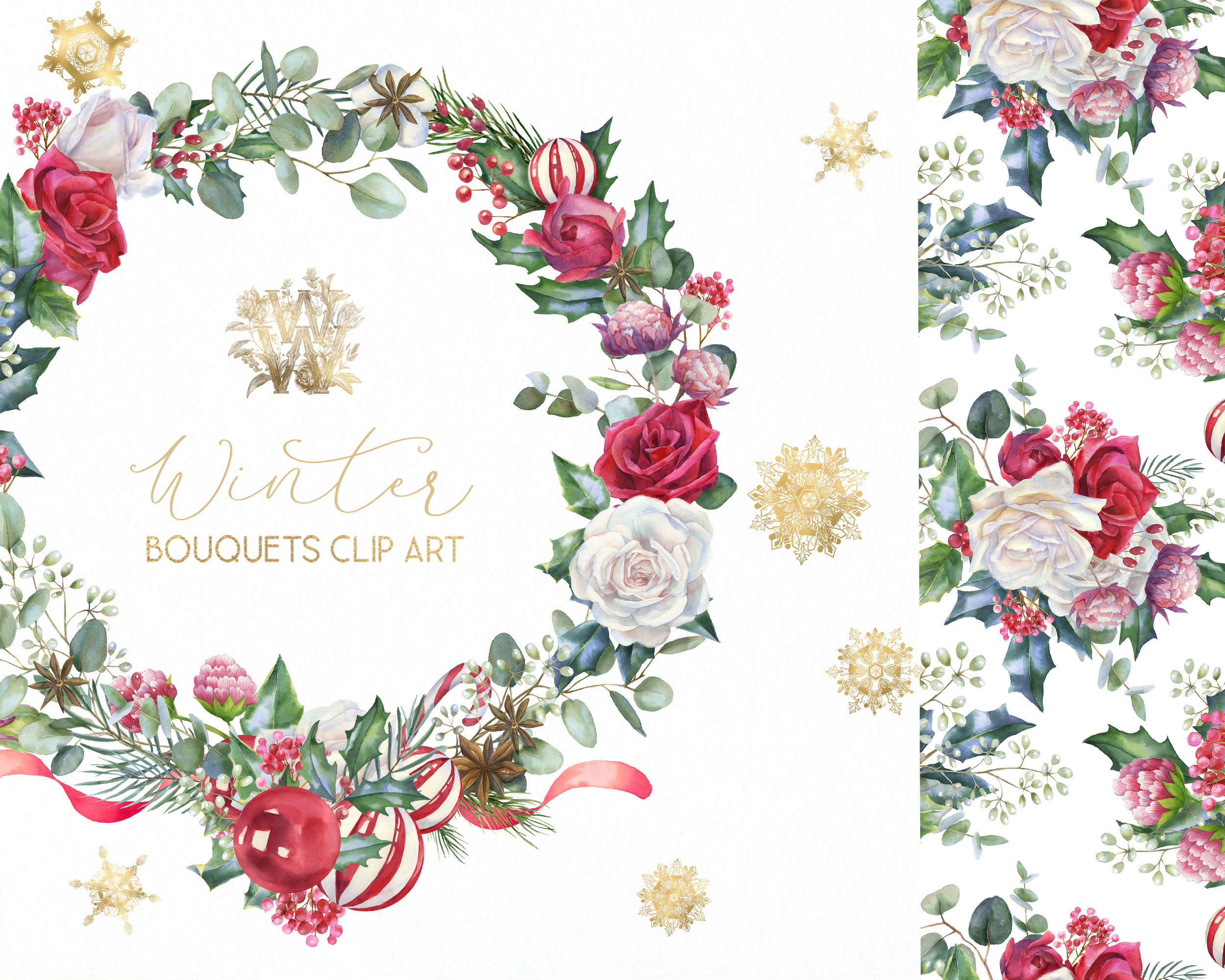 Christmas floral border clipart, Watercolor winter frame example image 10