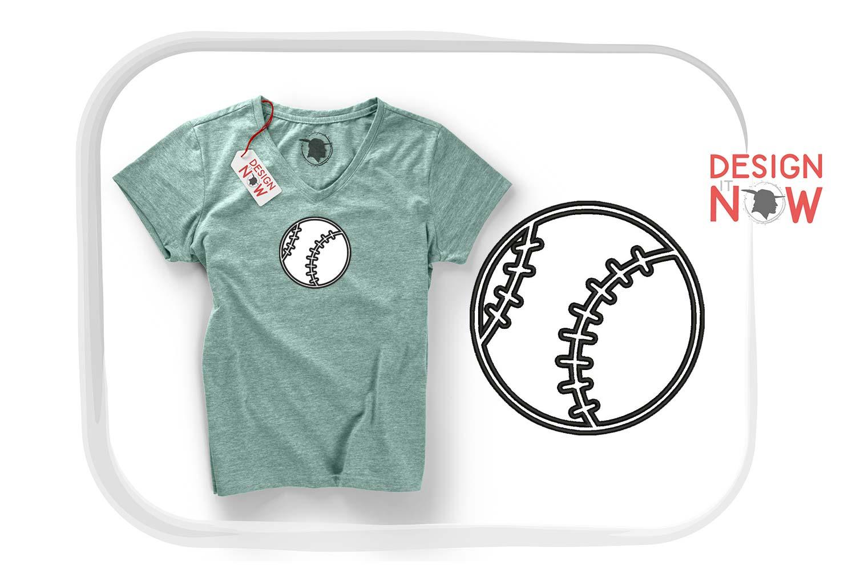 Baseball Applique Design, Sport Embroidery, Ball Applique example image 3