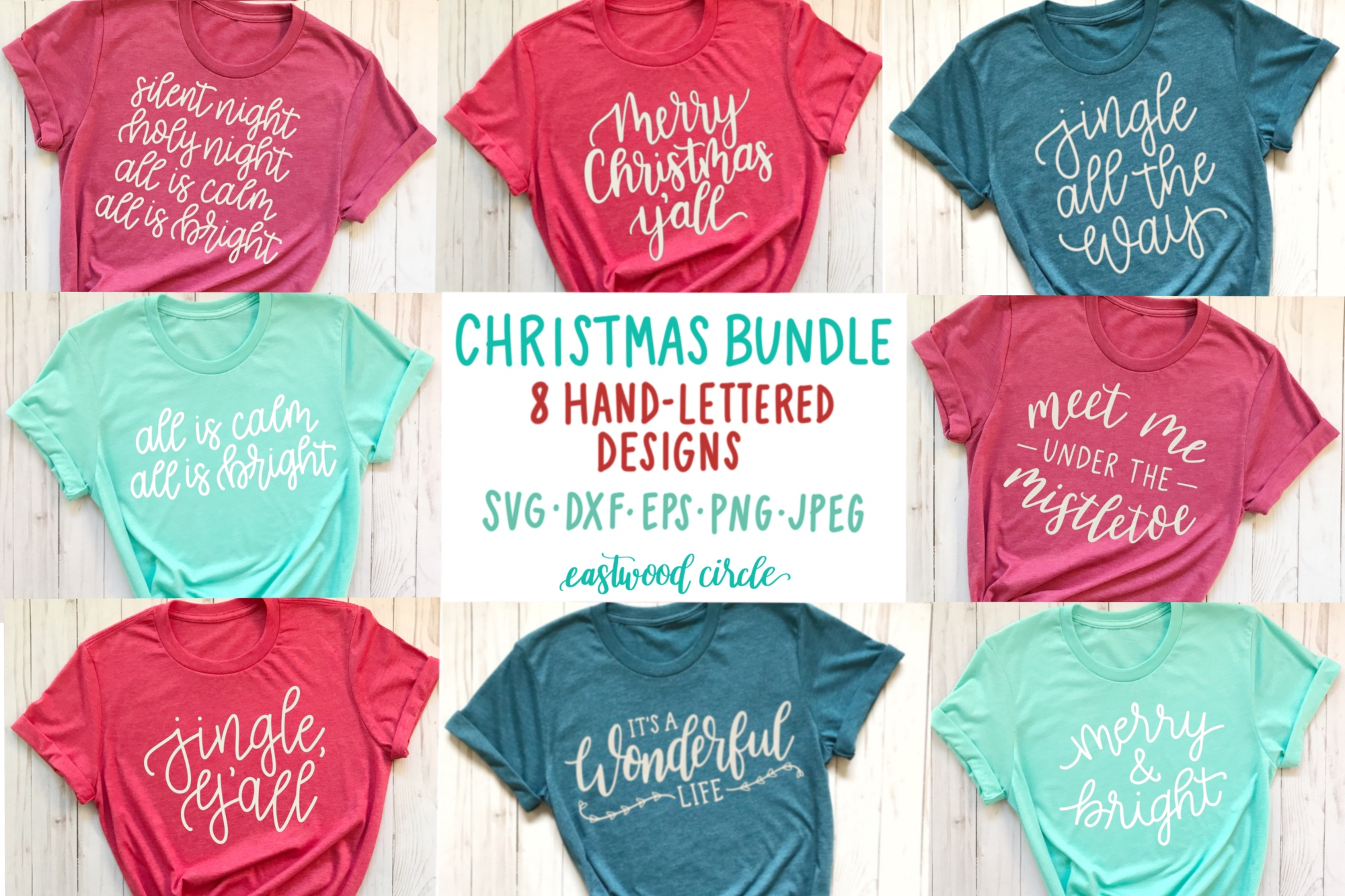 Christmas SVG Bundle - Hand Lettered Cut Files for Crafters example image 1
