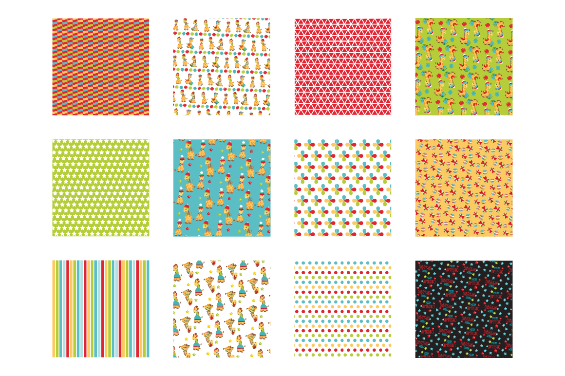 Christmas Giraffes Pattern collection, vector ai, example image 2