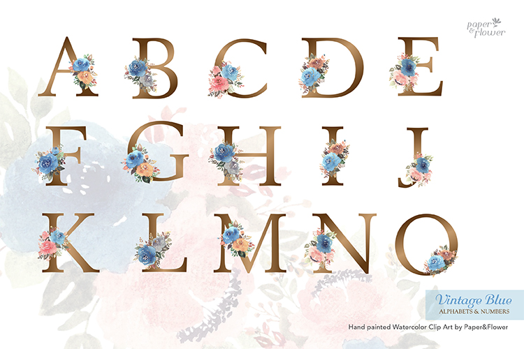 Vintage Blue Floral Watercolor Alphabet Set example image 3