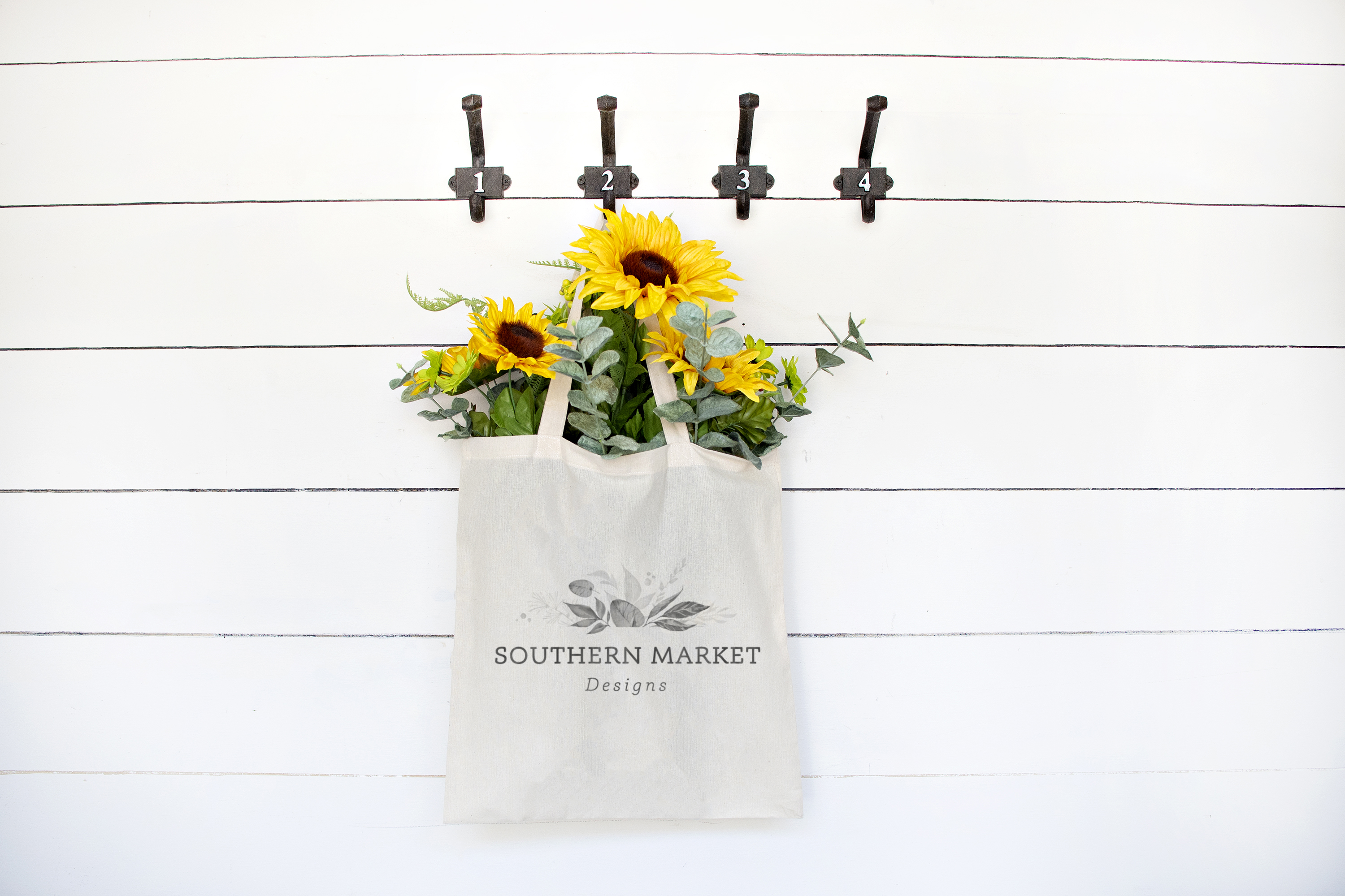 Sunflower Summer Styled Canvas Tote Mock Up Photo example image 1