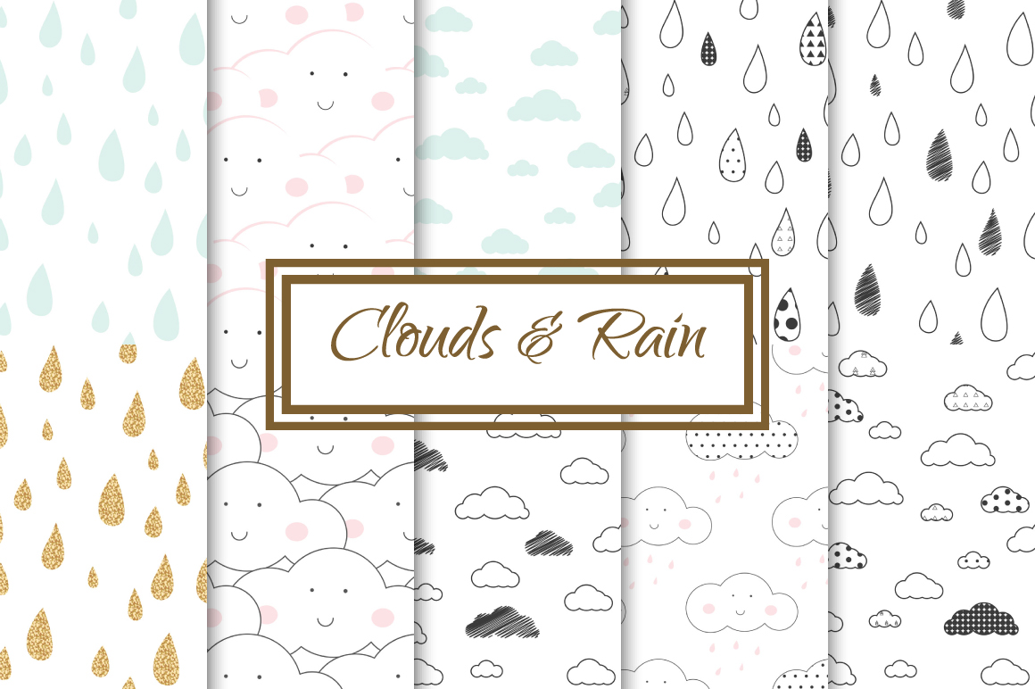 Clouds and Rain seamless patterns example image 1