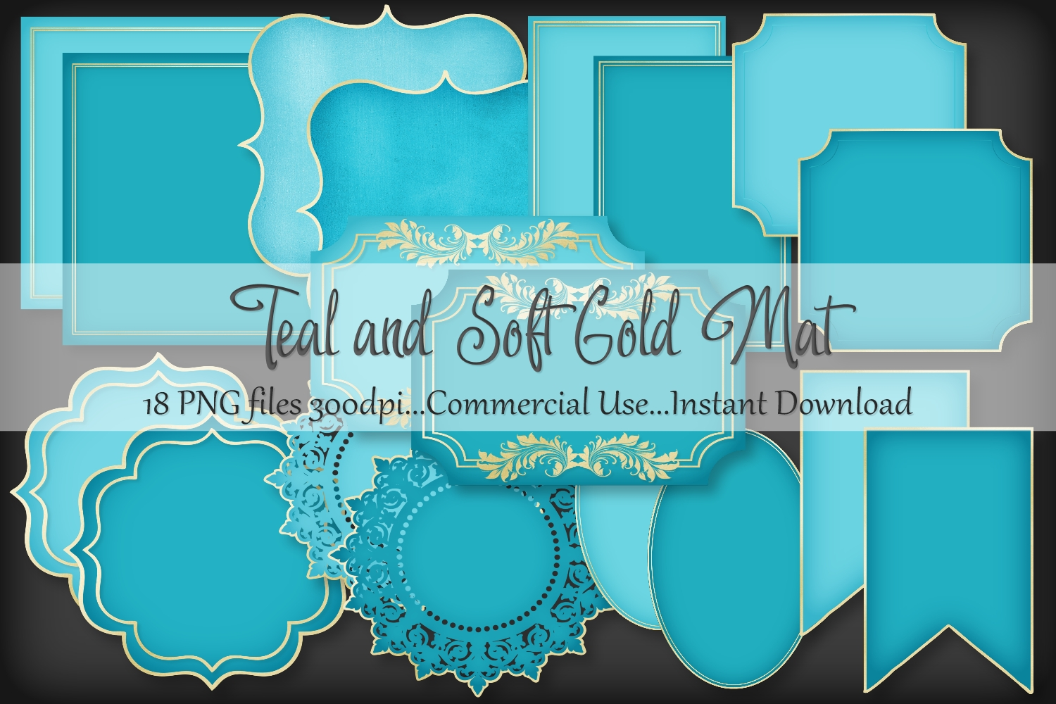 Teal and Soft Gold Mat Frame Doily example image 1