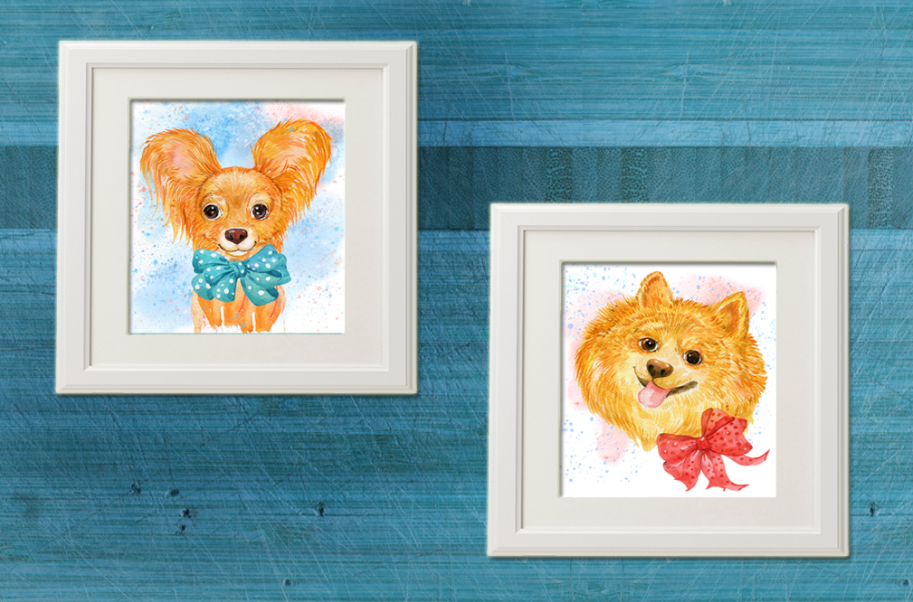 watercolor , cute dogs example image 4