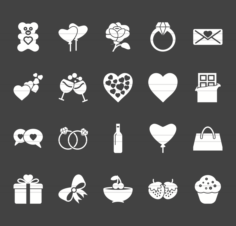 20 Valentine Glyph Inverted Icons example image 2