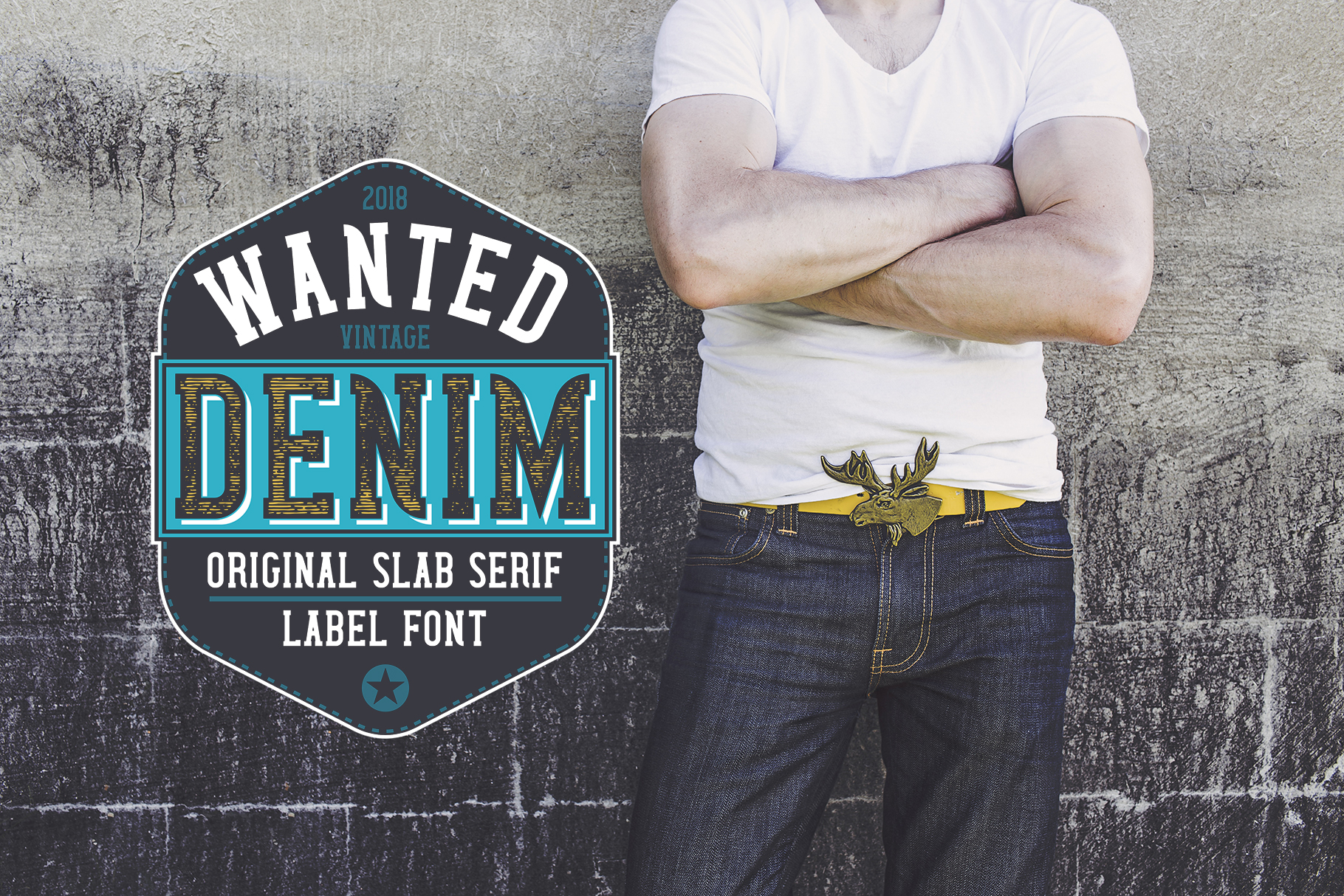 Wanted Denim layered font example image 4