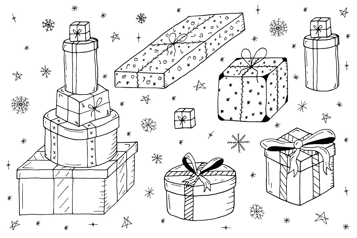 Christmas set in doodle style. example image 10