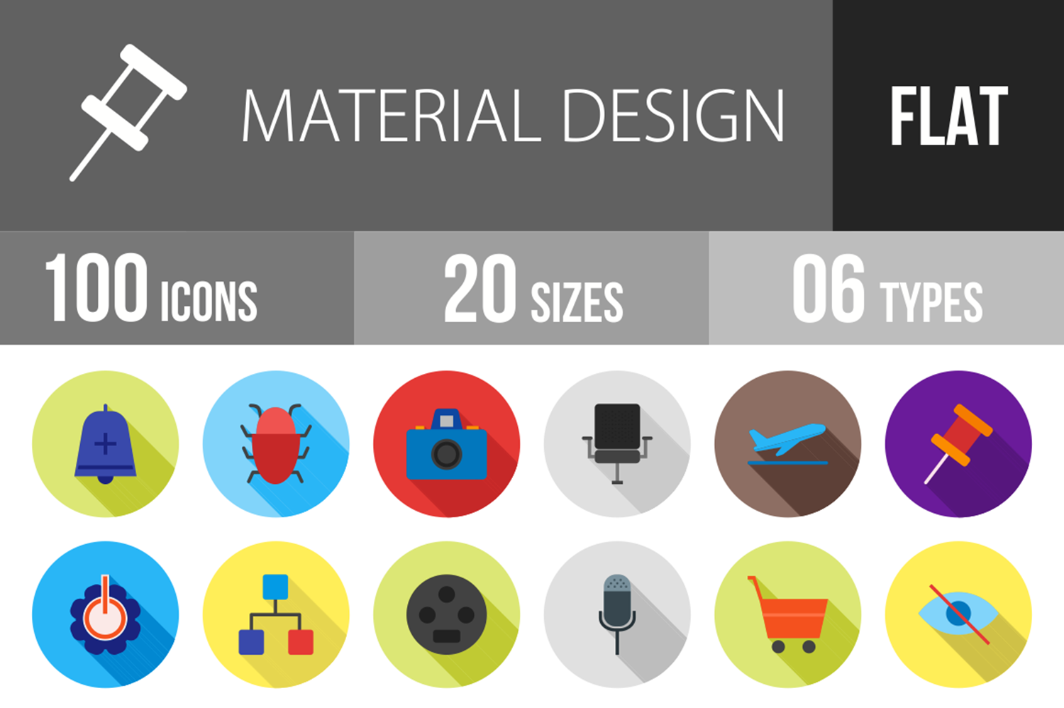100 Material Design Flat Long Shadow Icons example image 1