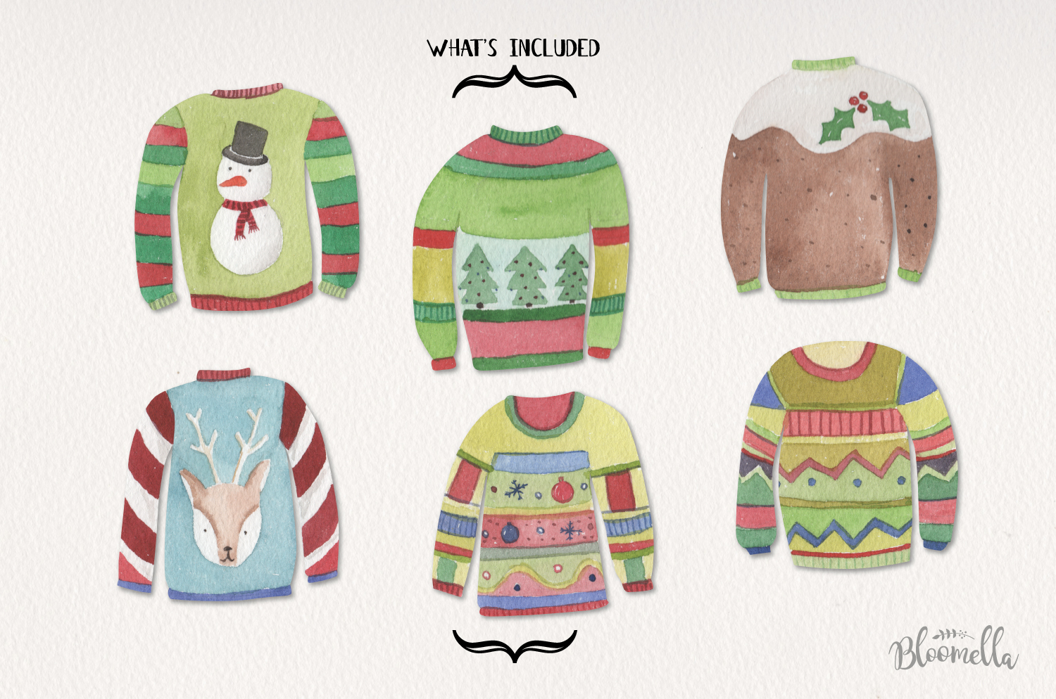 Festive Jumpers Watercolor Elements Christmas Sweaters Xmas example image 2