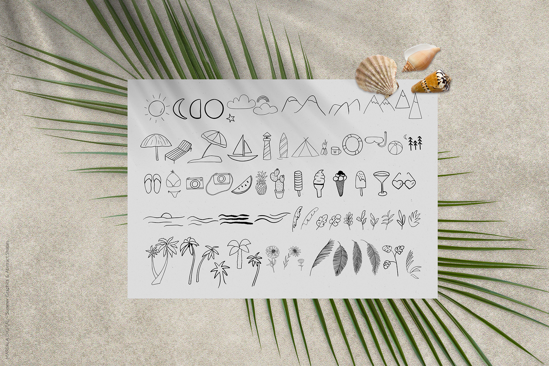 Abstract Shapes & Summer Line Art Vector Cliparts example image 12