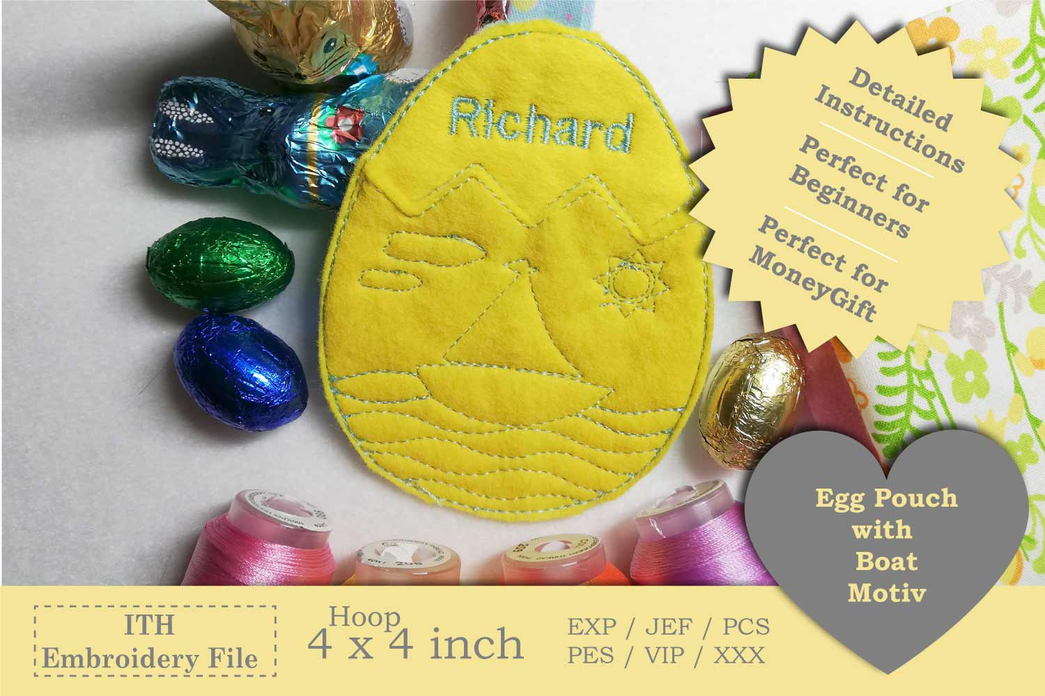 ITH - Egg Pouch with Sailboat Motive example image 1