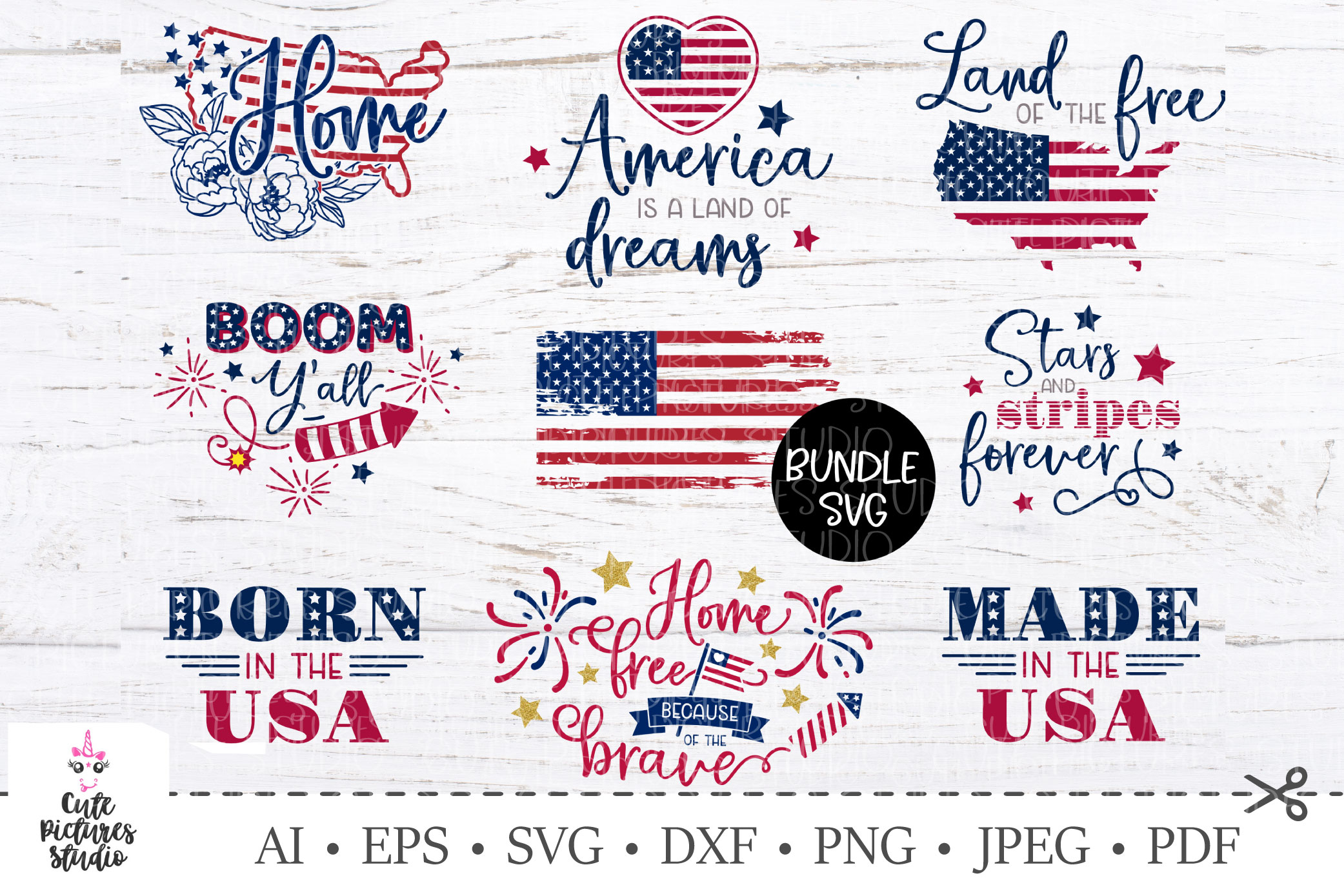 Bundle SVG USA Independence Day. America maps, flag svg example image 1