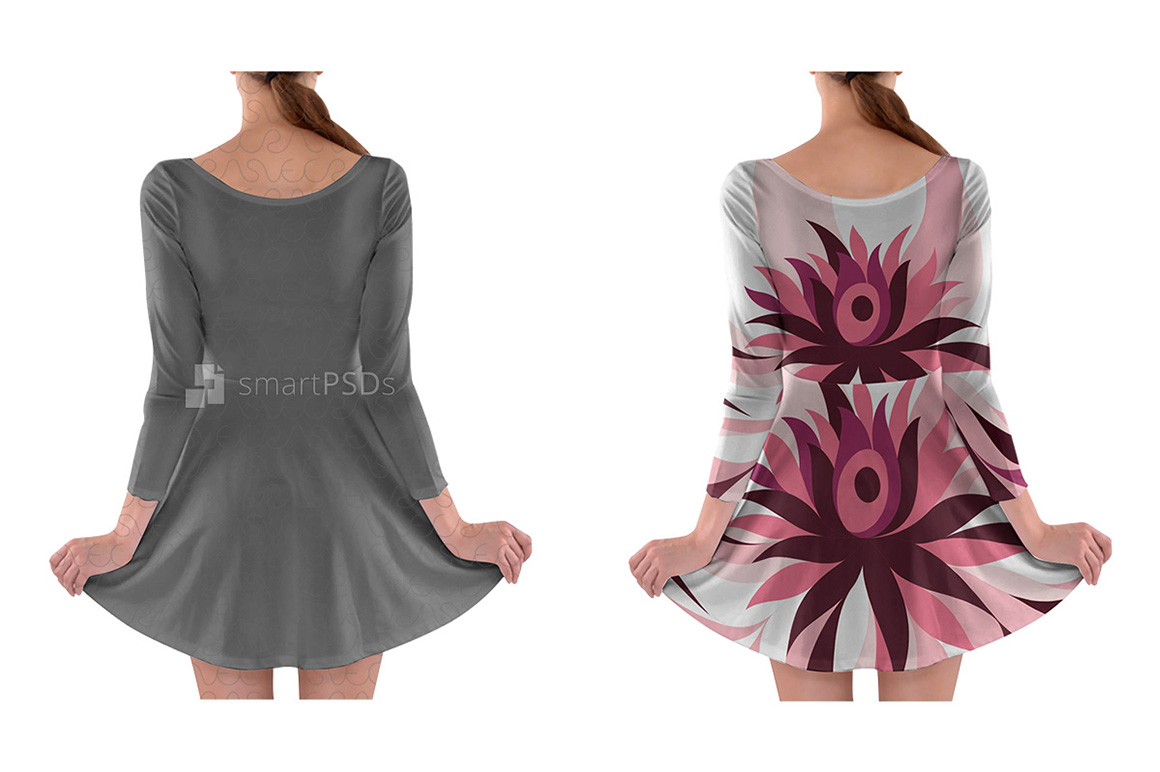 Long Sleeve Skater Dress Design Mockup for Sublimation Printing - 2 Views example image 2
