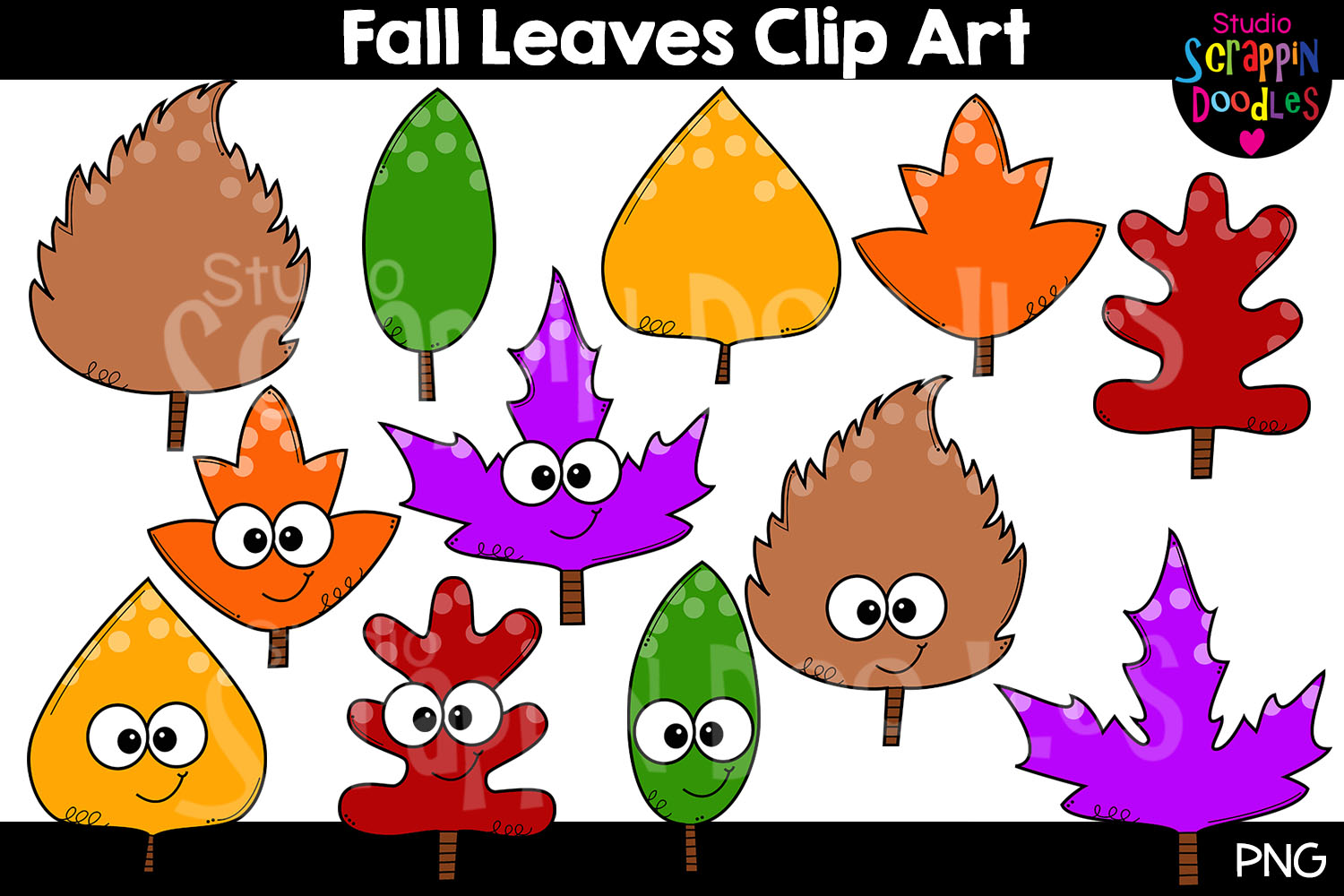 Fall Leaves Clip Art example image 1