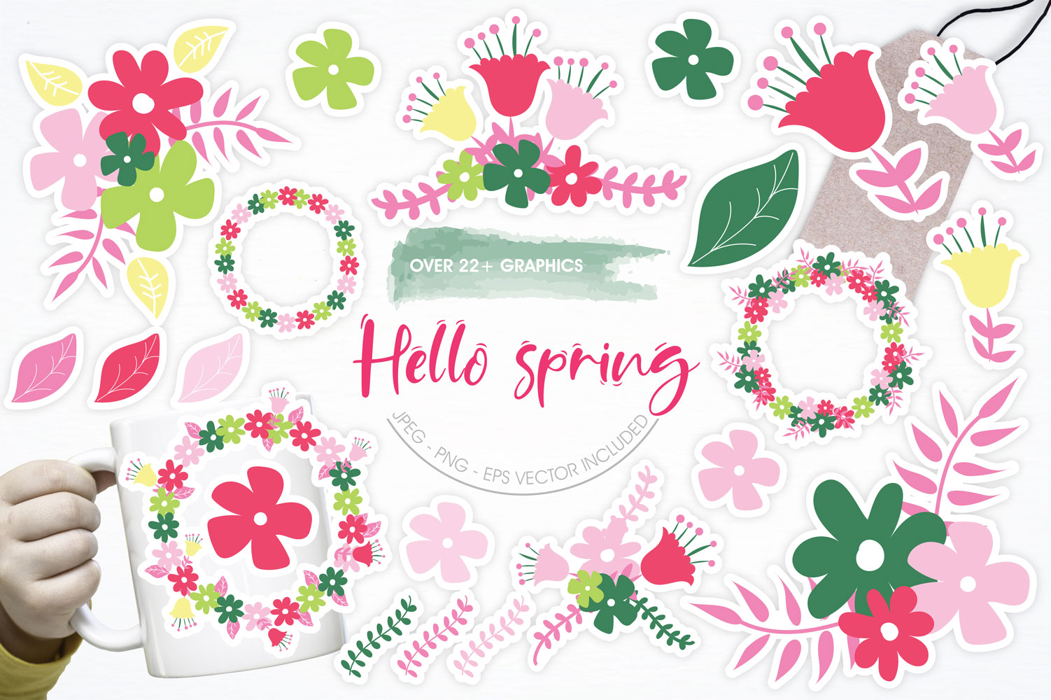 Hello Spring Cute Graphics example image 1